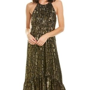 A.L.C Rosa Golden Leopard Midi Dress